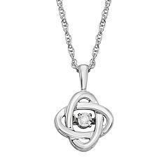 Dancing Love Diamond Accent Sterling Silver Double Circle Pendant Necklace