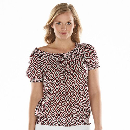08ee25640a1 Plus Size Chaps Print Crinkle Peasant Top
