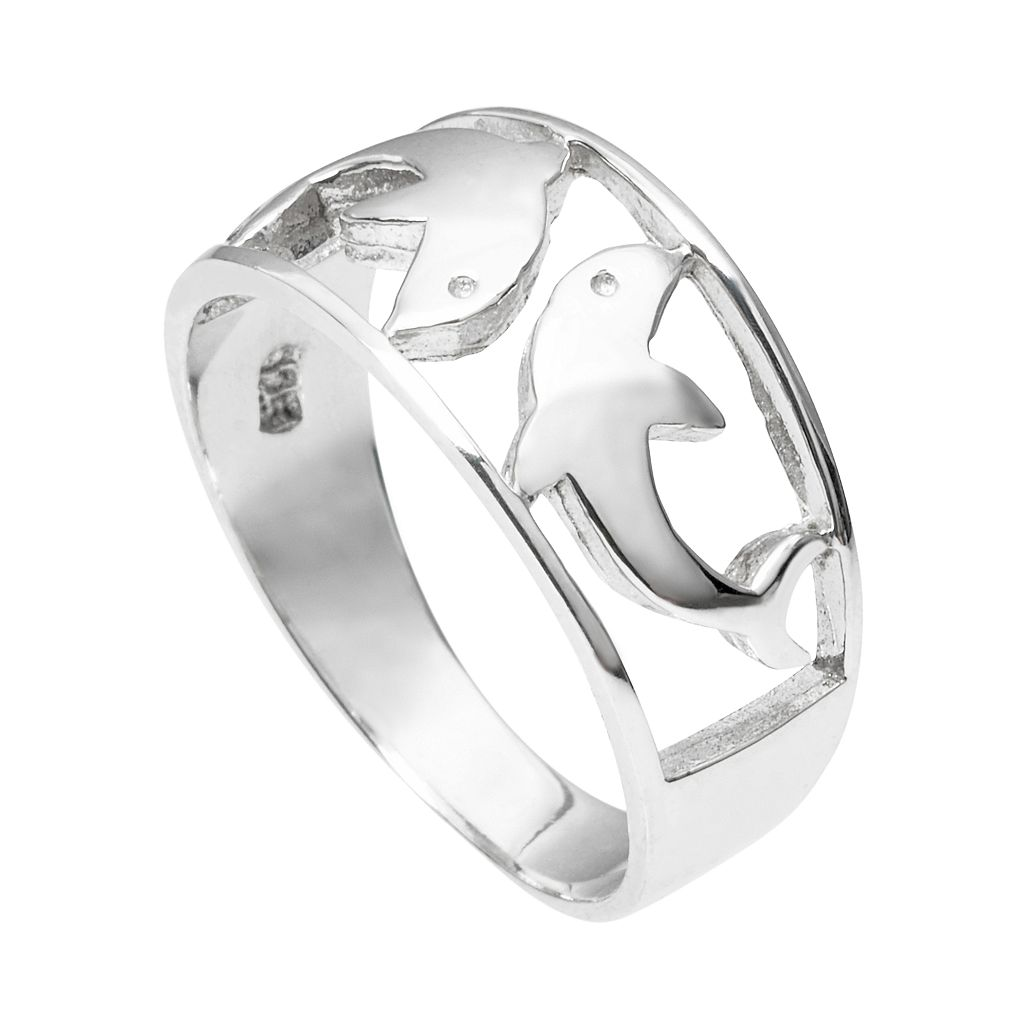 Journee Collection Sterling Silver Dolphin Ring