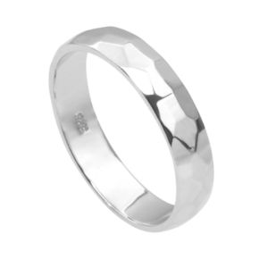 Journee Collection Sterling Silver Hammered Ring