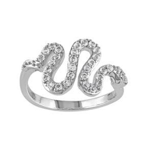White Topaz Sterling Silver Snake Ring