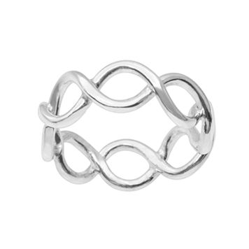 Journee Collection Sterling Silver Open-Work Twist Ring