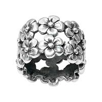 Journee Collection Sterling Silver Floral Ring