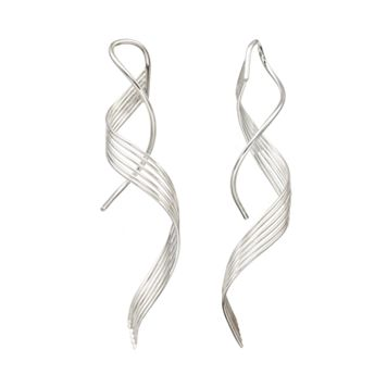 Journee Collection Sterling Silver Spiral Drop Earrings