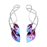 Journee Collection Sterling Silver & Niobium Calla Lily Earrings