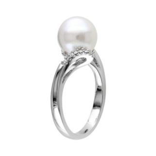 South Sea Cultured Pearl and Diamond Accent 14k White Gold Bypass Ring
