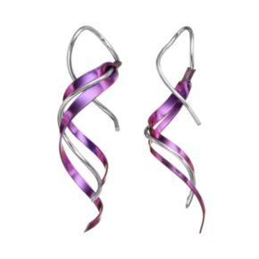 Journee Collection Sterling Silver & Niobium Twist Drop Earrings