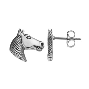 Journee Collection Sterling Silver Horse Stud Earrings