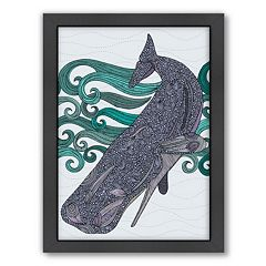 Americanflat ''Deep Violet'' Whale Framed Wall Art