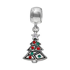 Individuality Beads Crystal Sterling Silver Christmas Tree Charm