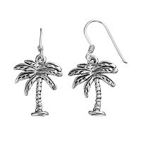 Journee Collection Sterling Silver Palm Tree Drop Earrings