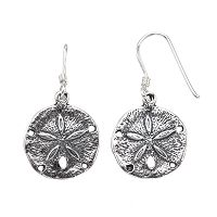 Journee Collection Sterling Silver Sand Dollar Drop Earrings