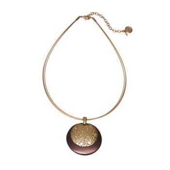 Dana Buchman Textured Disc Pendant Necklace