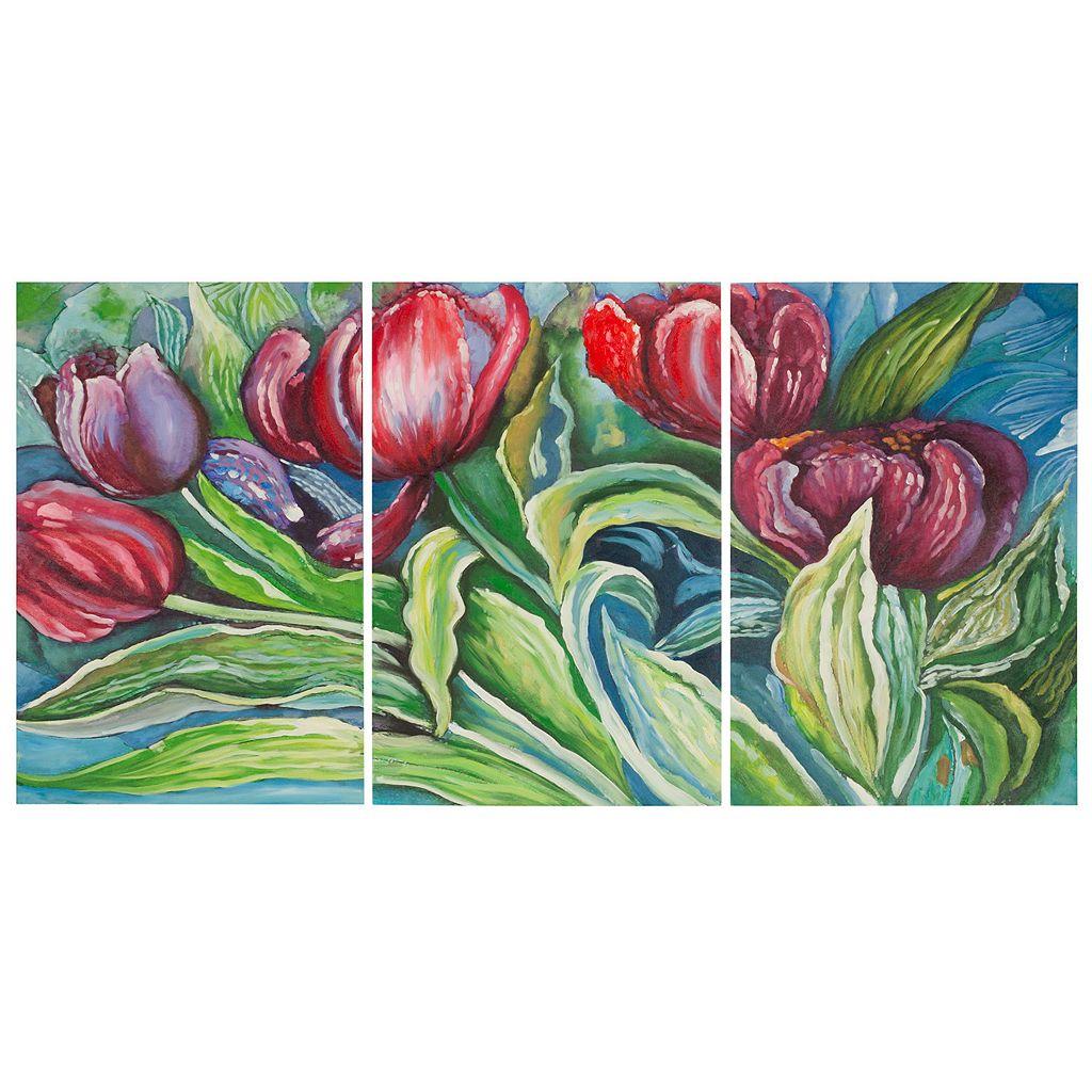 Safavieh 3-piece ''Novae Tulips'' Canvas Wall Art Set