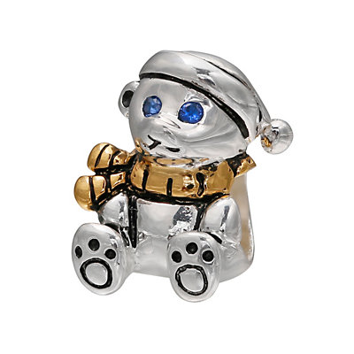 Individuality Beads Crystal 14k Gold Over Silver & Sterling Silver Teddy Bear Bead