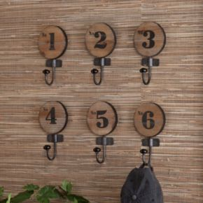 Southern Enterprises 6-Piece Numbered Wall Hook Set
