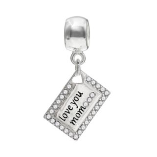 """Individuality Beads Crystal Sterling Silver """"Love You Mom"""" Envelope Charm"""