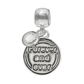 """Individuality Beads Crystal Sterling Silver Reversible """"Love"""" Charm"""