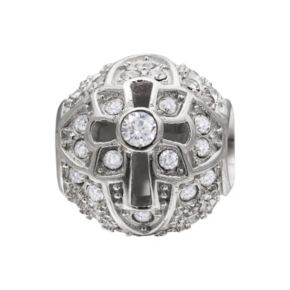 Individuality Beads Crystal Sterling Silver Cross Bead