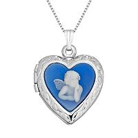 Sterling Silver Angel Cameo Heart Locket Necklace
