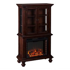 Click here to buy Southern Enterprises Harrington Electric Fireplace Curio Cabinet.