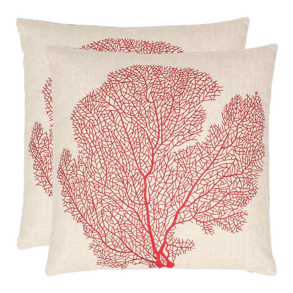 Spice Fan Coral 2-piece Throw Pillow Set