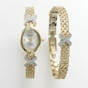 Armitron NOW Gold Tone Crystal Watch & Bracelet Set - Made with Swarovski Elements - 75/3176SET - Women