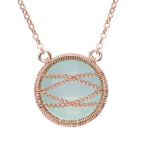 Chalcedony 18k Rose Gold Over Silver Chain-Wrapped Necklace