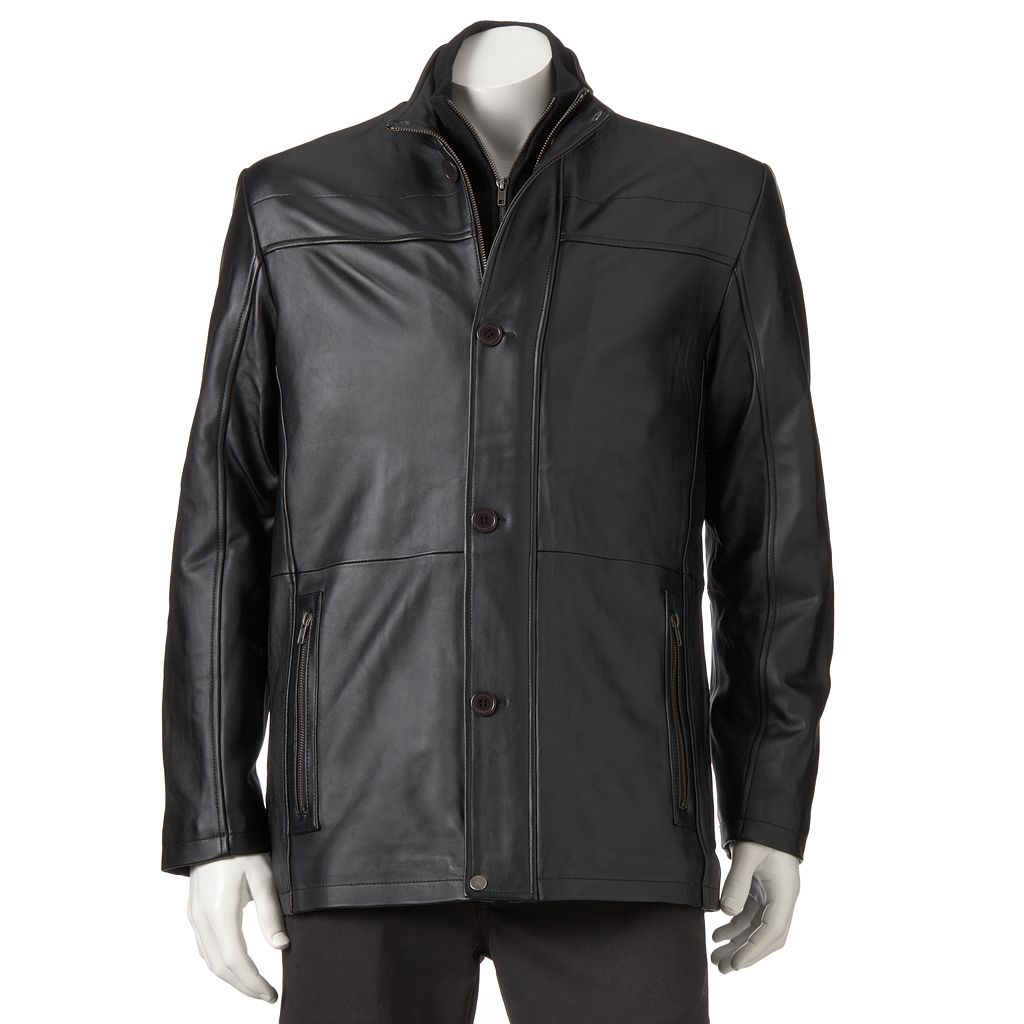 Men's Excelled Double-Collar Leather Car Coat