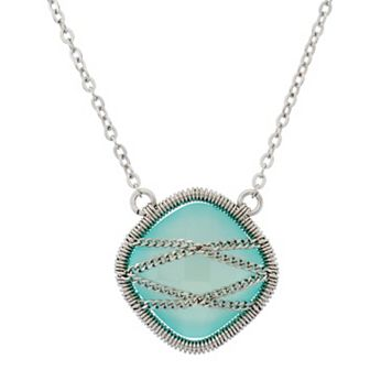 Chalcedony Sterling Silver Chain-Wrapped Necklace