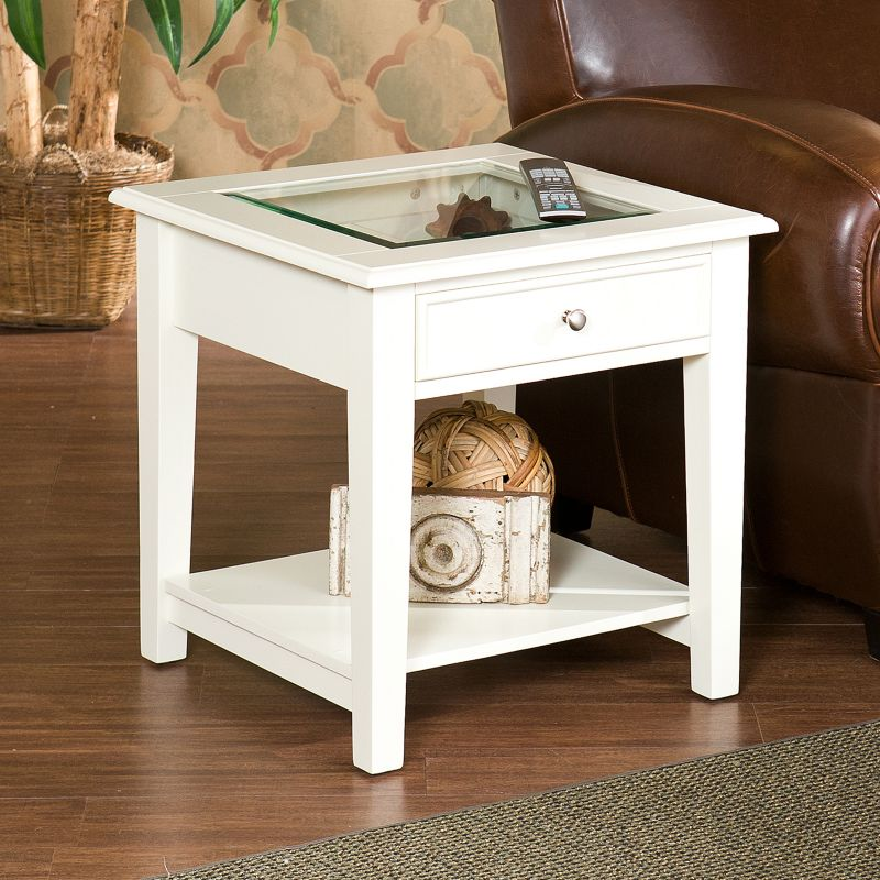 Southern Enterprises Prescott End Table, White