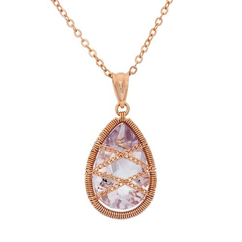 Amethyst 18k Rose Gold Over Silver Chain-Wrapped Teardrop Pendant Necklace