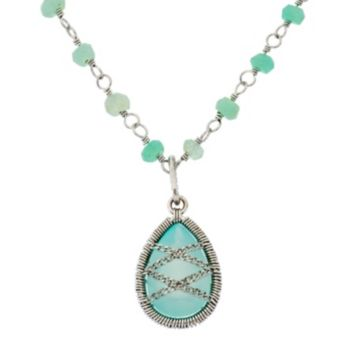 Chalcedony Sterling Silver Chain-Wrapped Teardrop Necklace