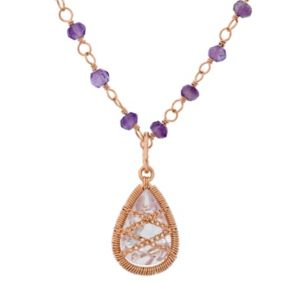 Amethyst 18k Rose Gold Over Silver Chain-Wrapped Teardrop Necklace