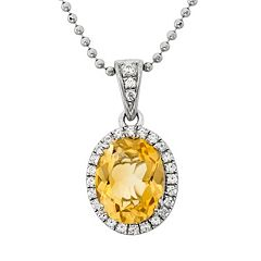 Citrine & Cubic Zirconia Platinum Over Silver Oval Halo Pendant Necklace