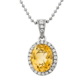 Citrine and Cubic Zirconia Platinum Over Silver Oval Halo Pendant Necklace