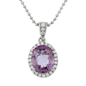 Amethyst and Cubic Zirconia Platinum Over Silver Oval Halo Pendant Necklace