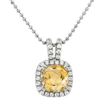 Citrine & Cubic Zirconia Platinum Over Silver Square Halo Pendant Necklace