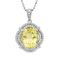 Lemon Quartz & Cubic Zirconia Platinum Over Silver Oval Halo Pendant Necklace