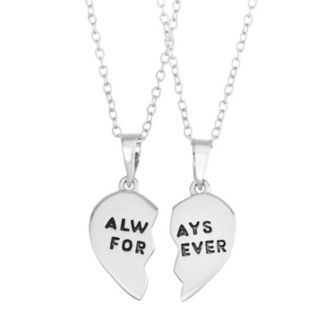 "Journee Collection Sterling Silver ""Always Forever"" Heart Pendant Set"
