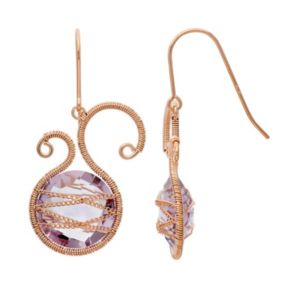 Amethyst 18k Rose Gold Over Silver Scrollwork and Chain-Wrapped Drop Earrings