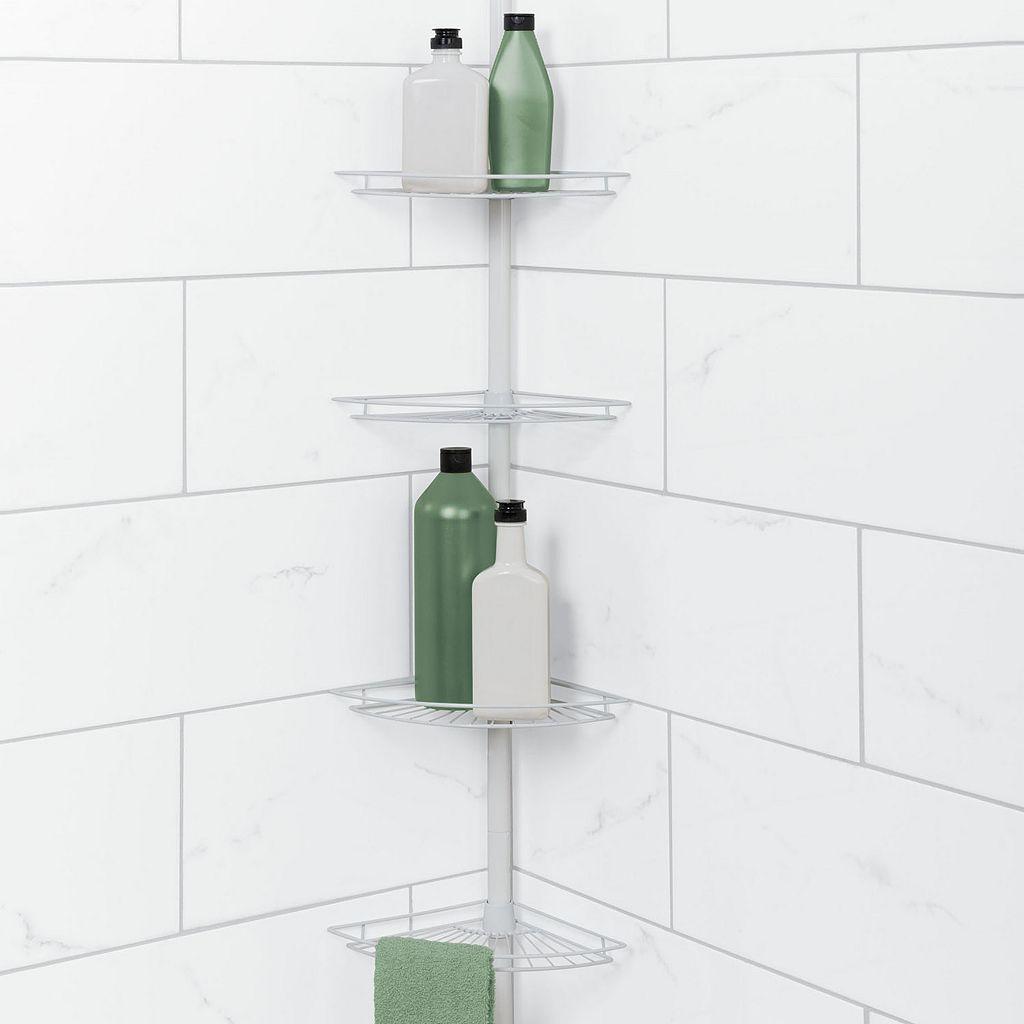 Zenna Home White Corner Tension Pole Tub & Shower Caddy
