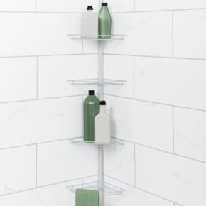 Zenna Home White Corner Tension Pole Tub & Shower Caddy
