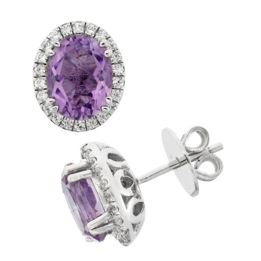 Amethyst and Cubic Zirconia Platinum Over Silver Tiered Oval Halo Stud Earrings