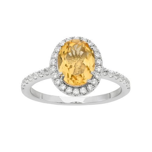 Citrine & Cubic Zirconia Platinum Over Silver Tiered Oval Halo Ring