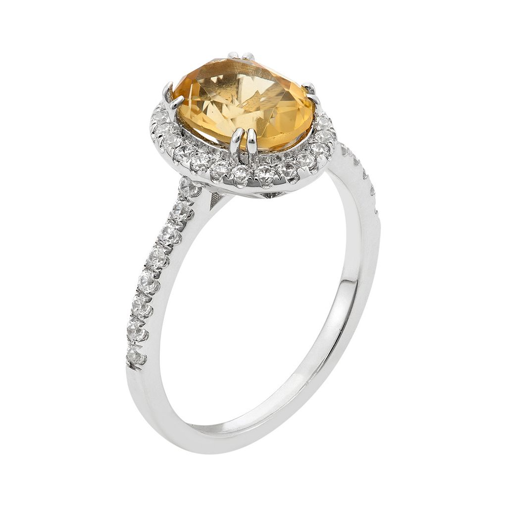 Citrine and Cubic Zirconia Platinum Over Silver Tiered Oval Halo Ring