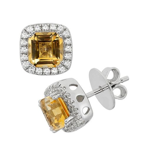 Citrine & Cubic Zirconia Platinum Over Silver Tiered Square Halo Stud Earrings