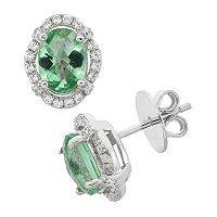 Green Obsidian & Cubic Zirconia Platinum Over Silver Tiered Oval Halo Stud Earrings