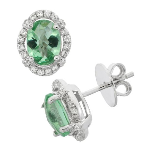 Green Obsidian and Cubic Zirconia Platinum Over Silver Tiered Oval Halo Stud Earrings