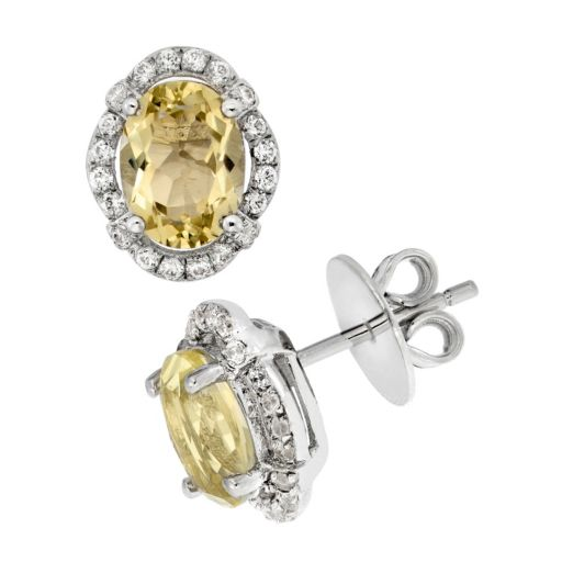 Lemon Quartz and Cubic Zirconia Platinum Over Silver Tiered Oval Halo Stud Earrings